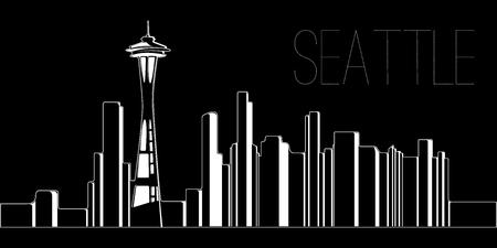 黒の背景にシアトルのスカイライン、ベクトルイラスト  イラスト・ベクター素材