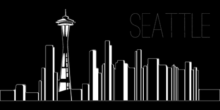 Skyline of Seattle on a black background, Vector illustration