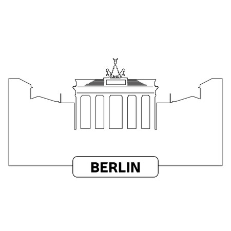 Outline of a cityscape of Berlin, Vector illustration
