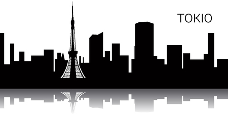 Silhouette of a cityscape of Tokyo, Vector illustration Ilustracja
