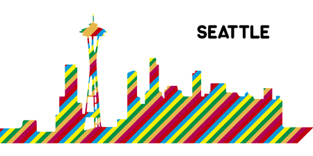 Skyline of Seattle on a white background, Vector illustration