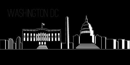 Cityscape of Washington D.C. on a black background, Vector illustration Illustration