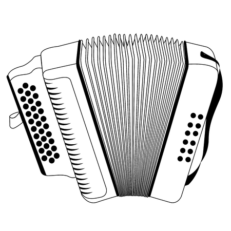 Isolated outline of an accordion, Vector illustration Иллюстрация