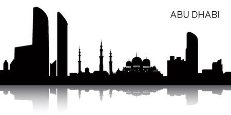 Schattenbild eines Stadtbilds von Abu Dhabi, Vektorillustration Standard-Bild - 85684782