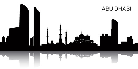 Silhouette of a cityscape of Abu Dhabi, Vector illustration
