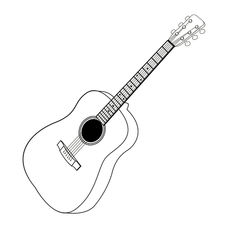 Isolated Outline Of A Guitar Vector Illustration
