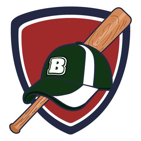 isolated baseball emblem with a bat and a hat vector illustration rh 123rf com Baseball Bat Vector Silhouette Baseball Bat Clip Art Vector