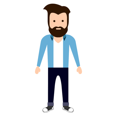 male symbol: Isolated hipster character on a white background, Vector illustration