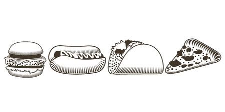 art piece: Set of sketches of fast food, Vector illustration Illustration