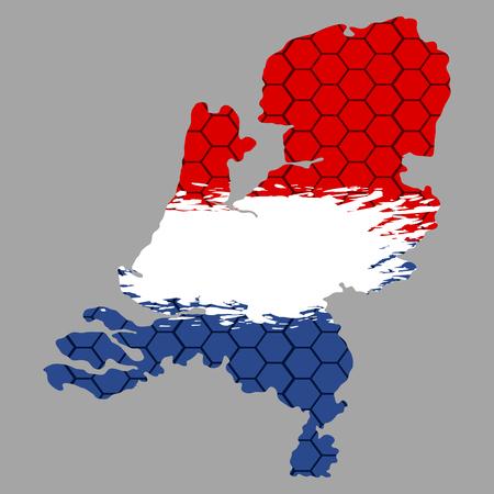 Geïsoleerde geweven vlag van Nederland, vectorillustratie Stock Illustratie