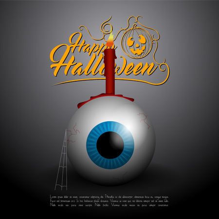 Colored halloween card with an eyeball, Vector illustration Illustration