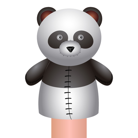Isolated panda puppet on a white background, Vector illustration