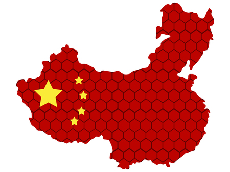 Isolated textured flag of china, vector illustration