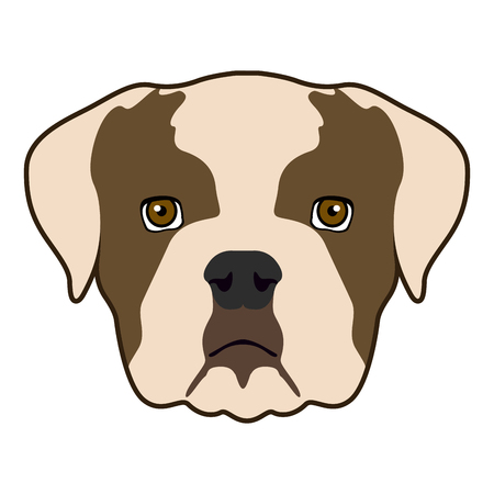 Isolated bulldog face icon on a white background, vector illustration