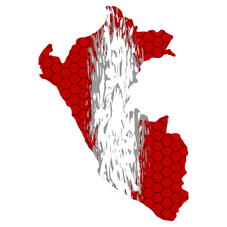 Isolated textured flag of peru, vector illustration