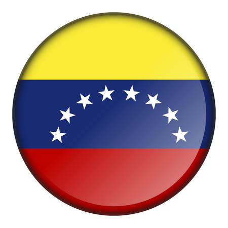Isolated flag button of venezuela on a white background, vector illustration