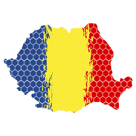 Isolated textured flag of romania, vector illustration