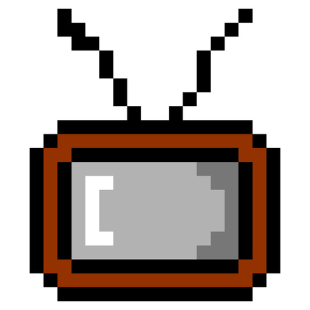 Isolated pixeled tv on a white background, Vector illustration