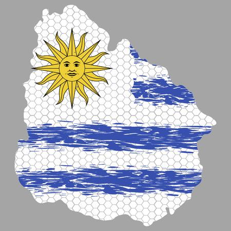 Isolated textured flag of uruguay, vector illustration Illustration