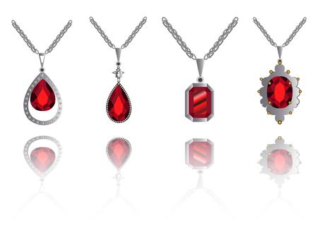 Set of necklaces on a white background, Vector illustration Illustration