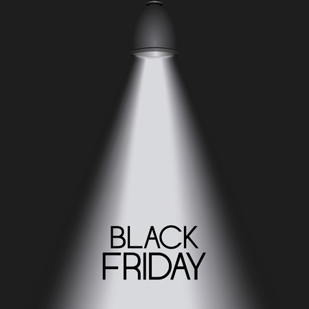 Black friday background with reflector, vector illustration
