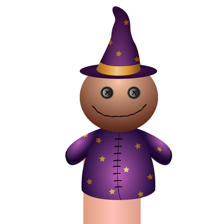Isolated wizard puppet on a white background, Vector illustration
