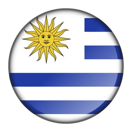 Bouton drapeau isolé de l'Uruguay sur fond blanc, illustration vectorielle Vecteurs