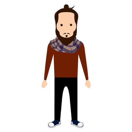 Isolated hipster character on a white background, Vector illustration