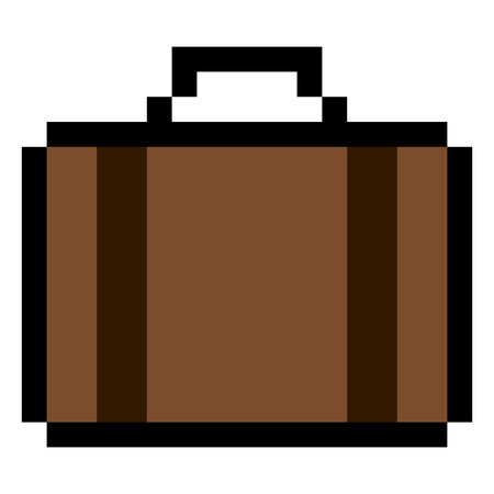 Isolated pixeled suitcase on a white background, Vector illustration