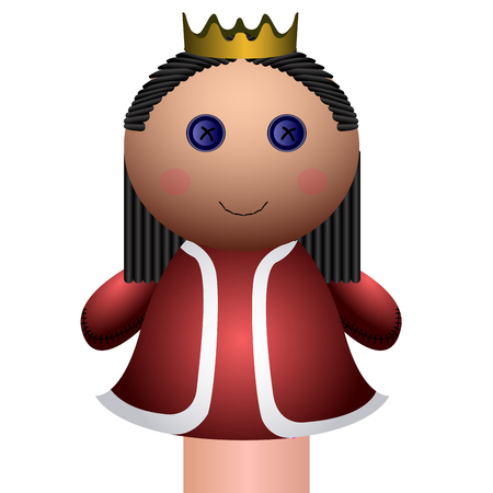 Isolated queen puppet on a white background, Vector illustration