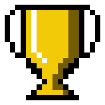 Isolated pixeled trophy on a white background, Vector illustration