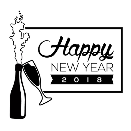 Happy new year poster with a brindis, Vector illustration