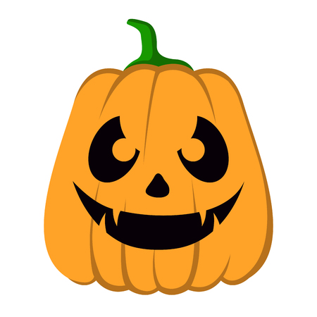 Isolated halloween jack-o-lantern on a white background, Vector illustration