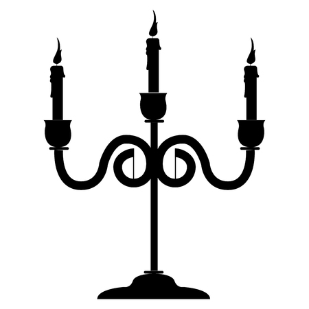 Isolated chandelier silhouette Illustration