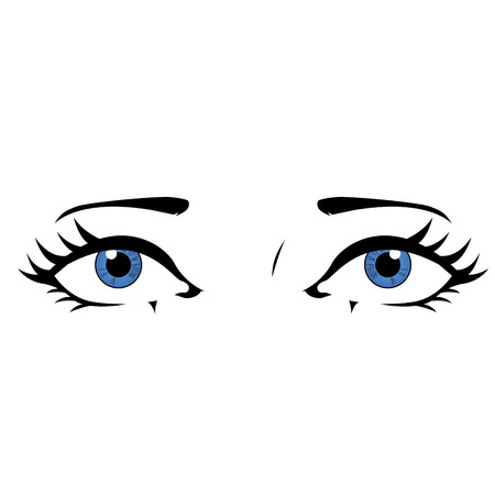 Illustration of a blue eyes in isolated background. Comic styled eyes 일러스트