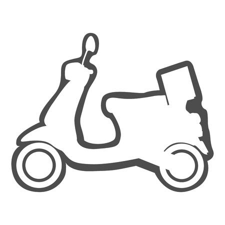 Geïsoleerde motorfiets pictogram, motorfiets-vormige tekening