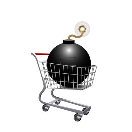 Shopping cart icon on white background, vector illustration.