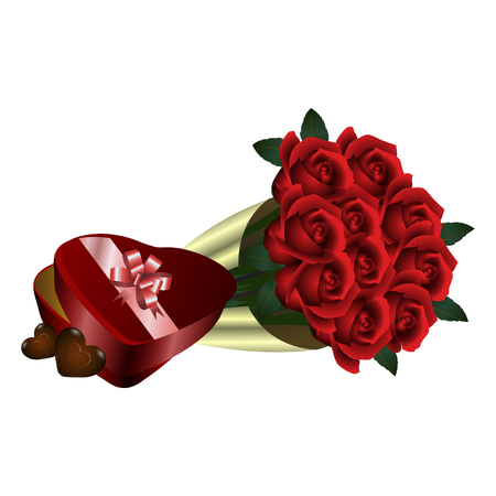 Bouquet of roses icon on white background, vector illustration. Illustration