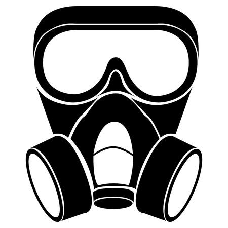 Señal de símbolo de icono de máscara de gas radiactivo aislado para ilustración de vector de diseño de clip art