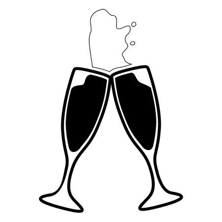 Pair of cocktail glasses on a white background, Vector illustration Illustration