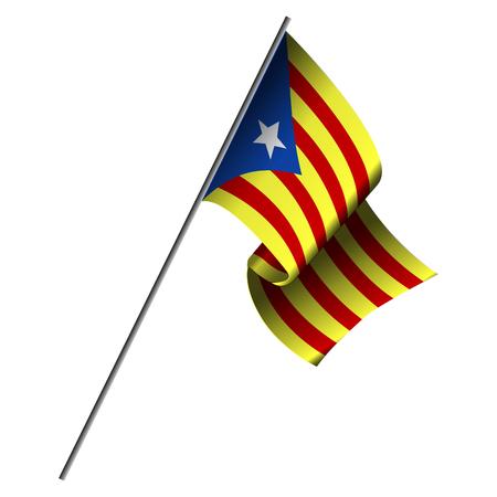 Flag of Catalonia on white background.