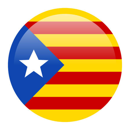 Flag of Catalonia on white background.