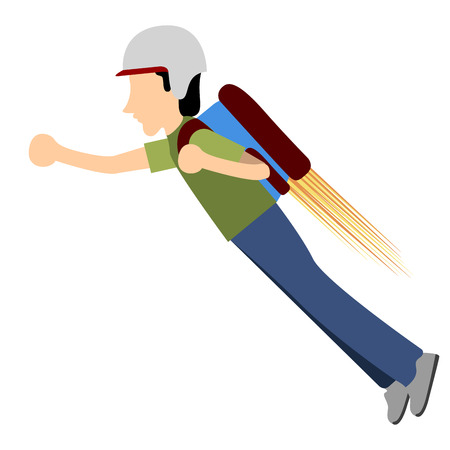 Delivery boy with a jetpack icon, Vector illustration Illustration