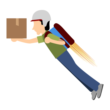 Delivery boy with a jetpack, Vector illustration
