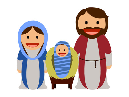 Baby Jesus with Mary and Joseph Illustration