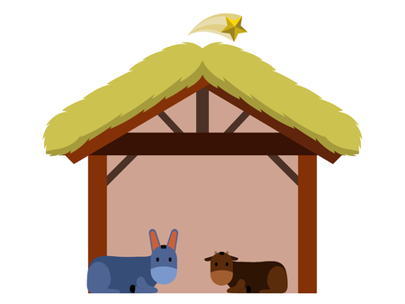 Isolated wooden manger