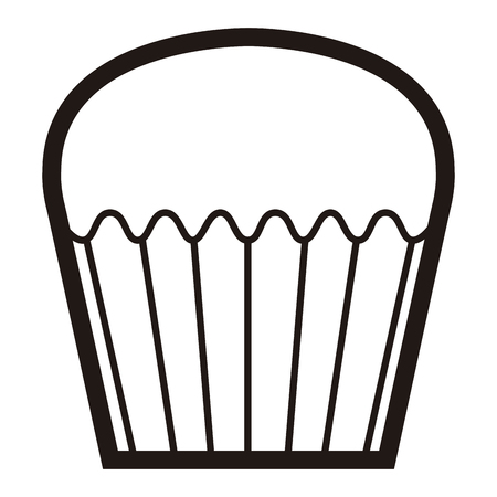 Isolated muffin icon in black and white illustration.