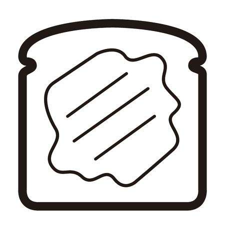 Slice of bread icon in black and white illustration. Illustration