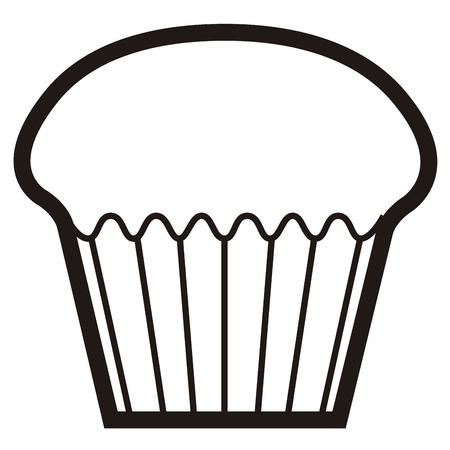 흑인과 백인 그림에서 격리 된 머핀 아이콘입니다. 일러스트