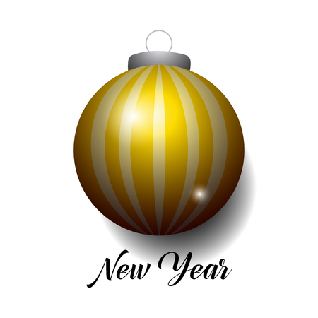 New year typography with bauble design illustration.